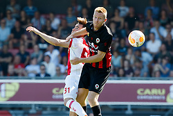 (L-R) Nico Tagliafico of Ajax, Mike van Duinen of Excelsior during the Dutch Eredivisie match between sbv Excelsior Rotterdam and Ajax Amsterdam at Van Donge & De Roo stadium on May 06, 2018 in Rotterdam, The Netherlands