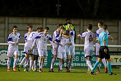 BANGOR, WALES - Tuesday, November 15, 2016: Luxembourg's Dany Da Costa celebrates scoring the first goal against Wales during the UEFA European Under-19 Championship Qualifying Round Group 6 match at the Nantporth Stadium. (Pic by David Rawcliffe/Propaganda)