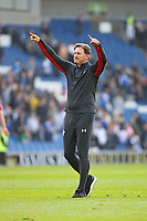 Football - 2018 / 2019 Premier League - Brighton and Hove Albion vs. Southampton<br /> <br /> Southampton Manager Ralph Hasenhuttl salutes the traveling fans at The Amex Stadium Brighton <br /> <br /> COLORSPORT/SHAUN BOGGUST