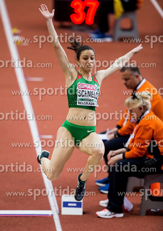 Fanni Schmelcz of Hungary competes in the Long Jump Women Qualification on day two of the 2017 European Athletics Indoor Championships at the Kombank Arena on March 4, 2017 in Belgrade, Serbia. Photo by Vid Ponikvar / Sportida