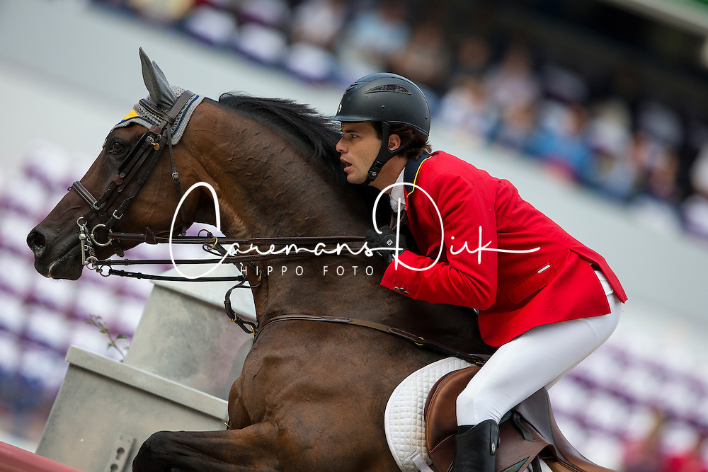 Andres Rodriguez, (VEN), Caballito - Team & Individual Competition Jumping Speed - Alltech FEI World Equestrian Games™ 2014 - Normandy, France.<br /> © Hippo Foto Team - Leanjo De Koster<br /> 02-09-14