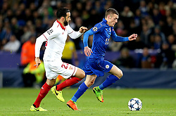 Jamie Vardy of Leicester City goes past Adil Rami of Sevilla - Mandatory by-line: Robbie Stephenson/JMP - 14/03/2017 - FOOTBALL - King Power Stadium - Leicester, England - Leicester City v Sevilla - UEFA Champions League round of 16, second leg