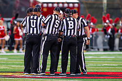 NORMAL, IL - September 07: High Tech enters the football field as the officials huddle up and show a little USB (Scott Jones, Jared Flech, Jamie Birr, and Matt Packowski are visible during a college football game between the ISU (Illinois State University) Redbirds and the Morehead State Eagles on September 07 2019 at Hancock Stadium in Normal, IL. (Photo by Alan Look)