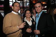 Karan Thapar, Maria Thapar and Hissan Hyder, PJ's Annual Polo Party . Annual Pre-Polo party that celebrates the start of the 2007 Polo season.  PJ's Bar & Grill, 52 Fulham Road, London, SW3. 14 May 2007. <br /> -DO NOT ARCHIVE-© Copyright Photograph by Dafydd Jones. 248 Clapham Rd. London SW9 0PZ. Tel 0207 820 0771. www.dafjones.com.