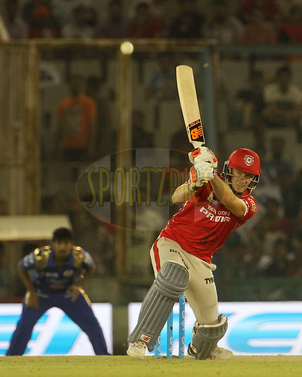 Kings XI Punjab captain David Miller plays a shot during match 21 of the Vivo Indian Premier League ( IPL ) 2016 between the Kings XI Punjab and the Mumbai Indians held at the IS Bindra Stadium, Mohali, India on the 25th April 2016<br /> <br /> Photo by Vipin Pawar / IPL/ SPORTZPICS
