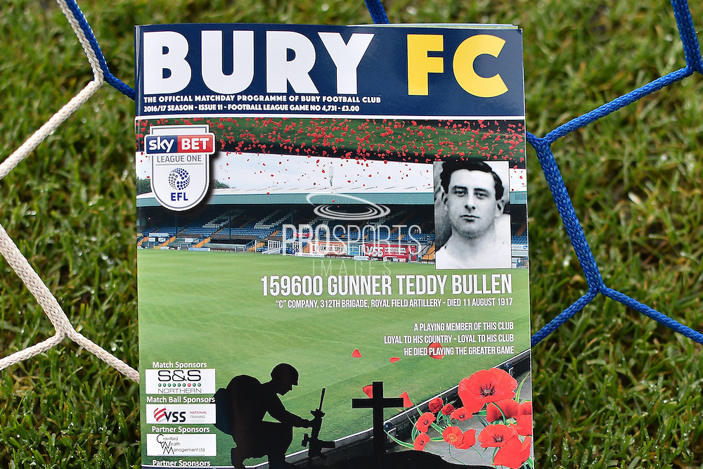 Tribute paid to former Bury player Teddy Bullen who died during First World War  before the EFL Sky Bet League 1 match between Bury and Southend United at the JD Stadium, Bury, England on 12 November 2016. Photo by Mark Pollitt.