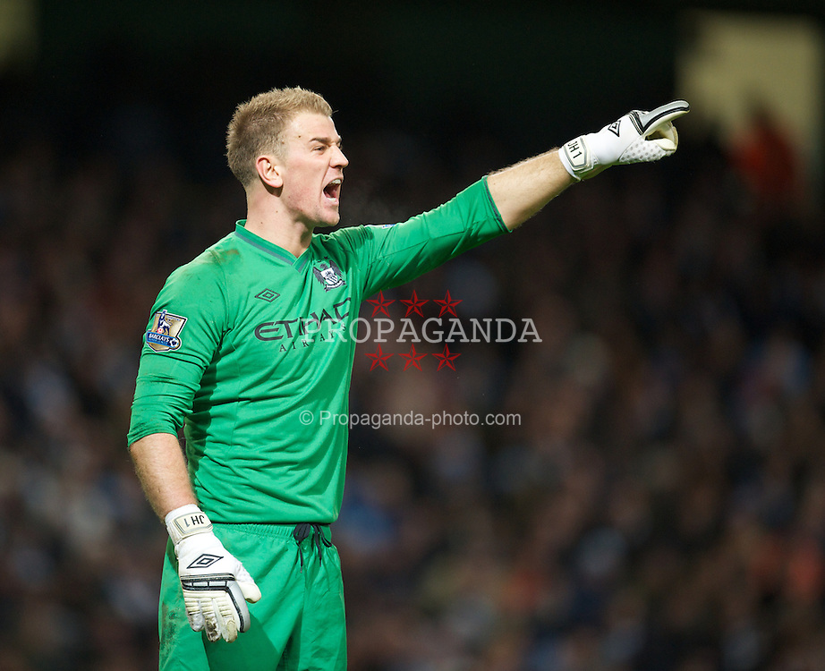 MANCHESTER, ENGLAND - Sunday, February 3, 2013: Manchester City's goalkeeper Joe Hart in action against Liverpool during the Premiership match at the City of Manchester Stadium. (Pic by David Rawcliffe/Propaganda)