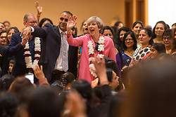 Prime Minister Theresa May during her visit to the Hindu temple, BAPS Shri Swaminarayan Mandir, in Neasden, London.