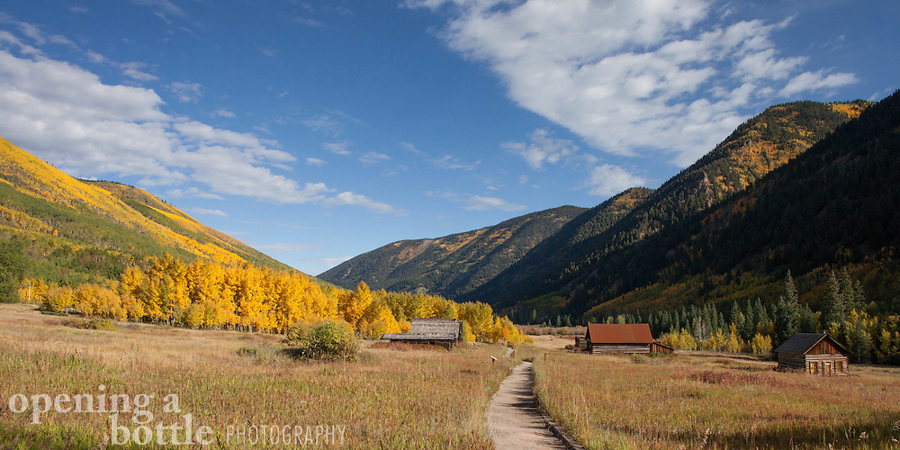 An overview of Ashcroft, Colorado at the height of fall color, south of Aspen.