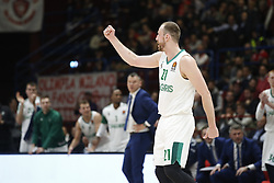 November 9, 2017 - Assago, Milan, Italy - Arturas Milaknis (#21 Zalgiris Kaunas) celebrates during a game of Turkish Airlines EuroLeague basketball between  AX Armani Exchange Milan vs Zalgiris Kaunas at Mediolanum Forum on November 9, 2017 in Milan, Italy. (Credit Image: © Roberto Finizio/NurPhoto via ZUMA Press)