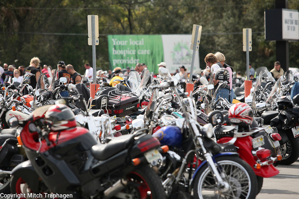"""More than 2,500 motorcycles made up the 3rd Jessie's Ride which ended in Crystal River, Florida.  Mark Lunsford's daughter, nine-year-old Jessica, was kidnapped and murdered by a registered sex offender.  She was reported missing exactly two years ago on Feb. 24, 2005.  Lunsford has spent the past two years raising awareness and working to pass """"Jessica's Act"""" strengthening penalties against child predators.  To date, the act has passed in 26 states."""