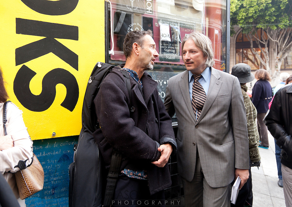 Jonathan Richman talks with Matt Gonzalez at the San Francisco International Poetry Festival...photo by Jason Doiy