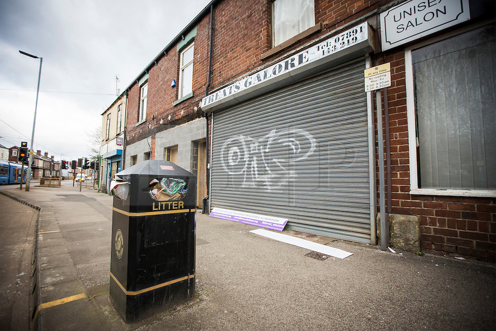 © Licensed to London News Pictures. 18/04/2016. Sheffield UK. Picture shows the UKIP shop this morning before Nigel Farage's visit. Nigel Farage has been in sheffield today to support Steve Winstone's campaign in the Sheffield Brightside & Hillsborough by election. Photo credit: Andrew McCaren/LNP