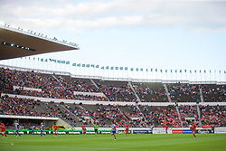 HELSINKI, FINLAND - Friday, July 31, 2015: A low turn out of supporters as Liverpool take on HJK Helsinki during a friendly match at the Olympic Stadium. (Pic by David Rawcliffe/Propaganda)