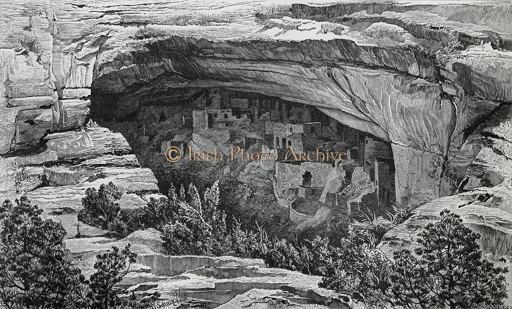 Cliff Palace, Meso Verde National Park, Colorado, USA,built by Pueblo Peoples in 12th and 13th centuries. 19th century engraving.