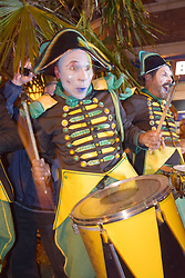 Norwich & Norfolk Festival launch - carnivalesque drummers & larger than life opera singing dolls take over the Norwich city centre from the French Transe Express performance company. May 2018 UK