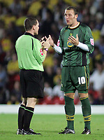 Photo: Paul Thomas.<br /> Watford v Norwich. Coca Cola Championship.<br /> 13/09/2005.<br /> <br /> Norwich's Dean Ashton has words with referee Paul Armstrong.