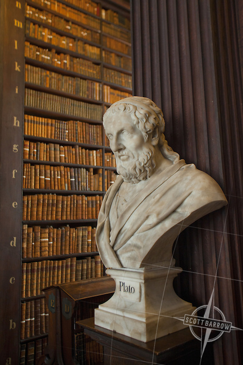 Bust of Plato in the Long Room of the Trinity College Library in Dublin Ireland. It was built between 1712 and 1732 to the design of Thomas Burgh and the vaulted ceiling was added in an 1860 renovation to the design of architechts Deane and Woodward.  Bust of Burke.