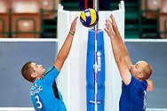 Katowice, Poland - 2017 September 02: Partner Jan Bartusek from SO Czech Republic fights for the ball on the net while SO Finland versus SO Czech Republic during European Unified Volleyball Tournament 2017 at Spodek Hall on September 02, 2017 in Katowice, Poland.<br /> <br /> Adam Nurkiewicz declares that he has no rights to the image of people at the photographs of his authorship.<br /> <br /> Picture also available in RAW (NEF) or TIFF format on special request.<br /> <br /> Any editorial, commercial or promotional use requires written permission from the author of image.<br /> <br /> Image can be used in the press when the method of use and the signature does not hurt people on the picture.<br /> <br /> Mandatory credit:<br /> Photo by © Adam Nurkiewicz / Mediasport