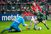 ALKMAAR - 21-01-2017, AZ - Sparta, AFAS Stadion, 1-1, Sparta keeper Roy Kortsmit, AZ speler Wout Weghorst, Sparta speler Rick van Drongelen.