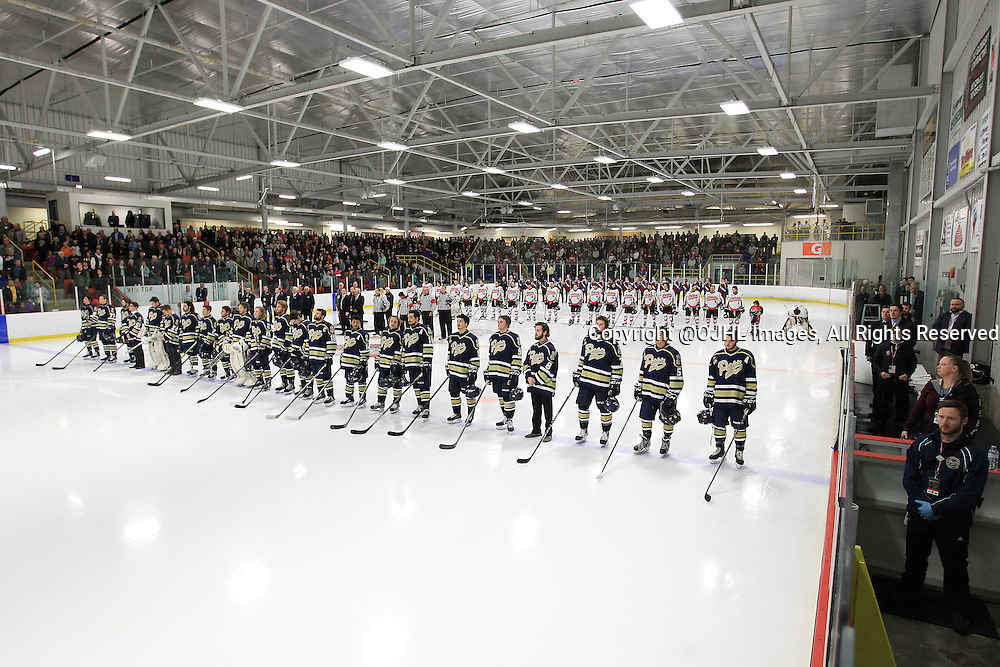 FORT FRANCES, ON - Apr 28, 2015 : Central Canadian Junior &quot;A&quot; Championship, game action between theToronto Patriots and the Fort Francis Lakers, game two of the Dudley Hewitt Cup. Opening Ceremonies.<br /> (Photo by Tim Bates / OJHL Images)