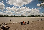 Paddlefish, fishermen, Intake Diversion Dam, Yellowstone River,  south of Sidney Montana