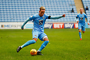 Coventry City forward Jordan Maguire-Drew (17), on loan from Brighton & Hove Albion,  with a cross during the EFL Sky Bet League 2 match between Coventry City and Swindon Town at the Ricoh Arena, Coventry, England on 20 January 2018. Photo by Simon Davies.