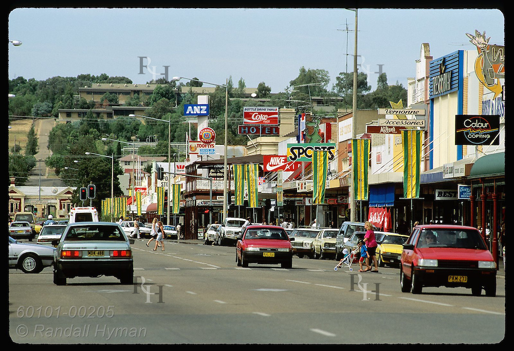 Shops line the busy main street of Wagga Wagga on a hot summer day in January; New South Wales. Australia