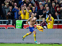 Solna 2012-11-14 Football Friendly Game Sweden-England :  .Sweden 10 Zlatan Ibrahimovic celebrating his fourth goal.(Photo: Kenta J?nsson / Pic-Agency.com) Keyword: Football , Friendly Game , Sweden , England , jubel gl?dje lycka glad happy .