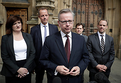 ©  London News Pictures. 07/07/2016. London, UK. Former conservative Party leadership candidate  MICHAEL GOVE speaking outside Parliament  following this afternoon's second round of voting for the leadership of Conservative party.  Photo credit: Peter Macdiarmid/LNP