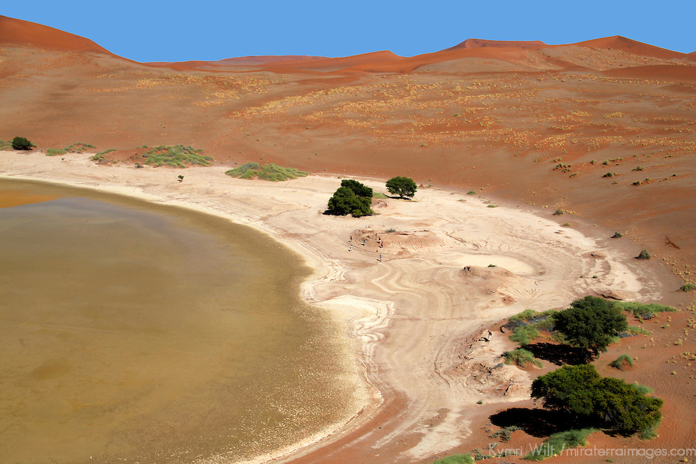 Africa, Namibia, Sossusvlei. Sossusvlei Pan, with some water.