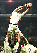 6 Feb 2010 Twickenham, England: Steve Borthwick of England steals a Welsh lineout from Luke Charteris during the Six Nations match between England and Wales. Photo © Andrew Tobin www.slikimages.com