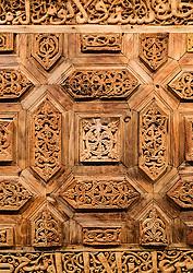 Old ornate wooden door detail at Sharjah Museum of Islamic Civilization in Sharjah United Arab Emirates