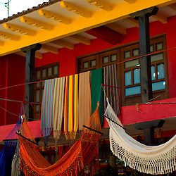 Colorful hammocks and buildings in Ráquira, Boyacá, Colombia.