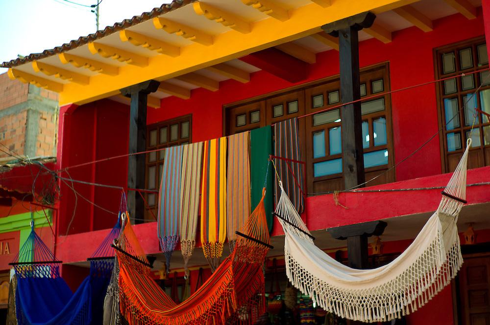 Colorful hammocks and buildings in Ráquira, Boyacá, Colombia.