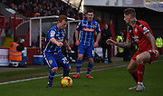 Adam Campbell looks to break past Sonny Bradley during the Sky Bet League 2 match between Crawley Town and Notts County at the Checkatrade.com Stadium, Crawley, England on 16 January 2016. Photo by Michael Hulf.