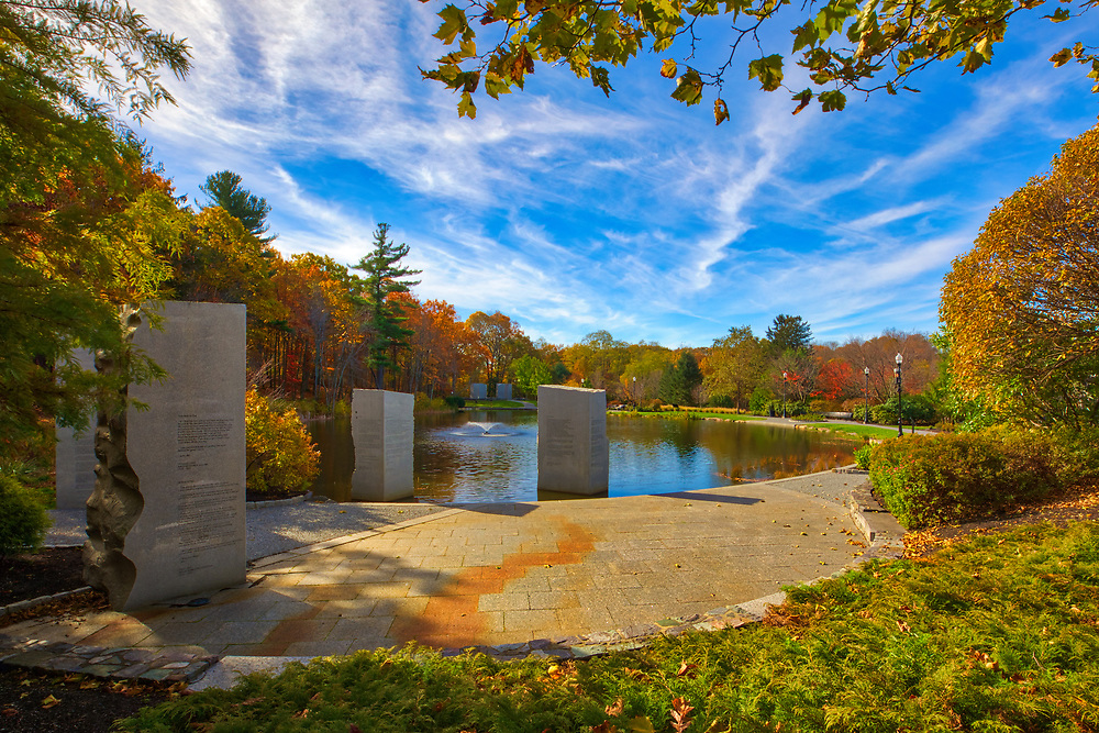 Massachusetts war landmark photography image of the Massachusetts Vietnam Veterans Memorial on Skyline Drive at Green Hill Park in Worcester, MA. This historical Vietnam Veterans monument provides a place of dignity and quietude in a natural location for reflection, teaching and learning. The memorial is designed in three sections called places, place of flags, place of words and place of names.<br />