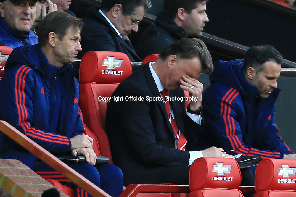 13th March 2016 - FA Cup - Quarter-Final - Manchester United v West Ham United - Man Utd manager Louis van Gaal looks dejected - Photo: Simon Stacpoole / Offside.