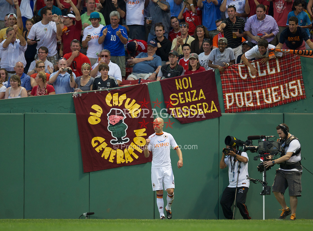 BOSTON, MA - Wednesday, July 25, 2012: AS Roma's Michael Bradley celebrates after scoring the first goal against Liverpool during a pre-season friendly match at Fenway Park, home of the Boston Red Sox, the second match of the Reds' North American tour. (Pic by David Rawcliffe/Propaganda)