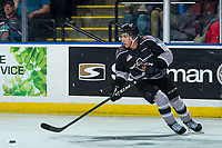 KELOWNA, BC - JANUARY 26: Justin Sourdif #42 of the Vancouver Giants skates with the puck against the Kelowna Rockets at Prospera Place on January 26, 2020 in Kelowna, Canada. (Photo by Marissa Baecker/Shoot the Breeze)