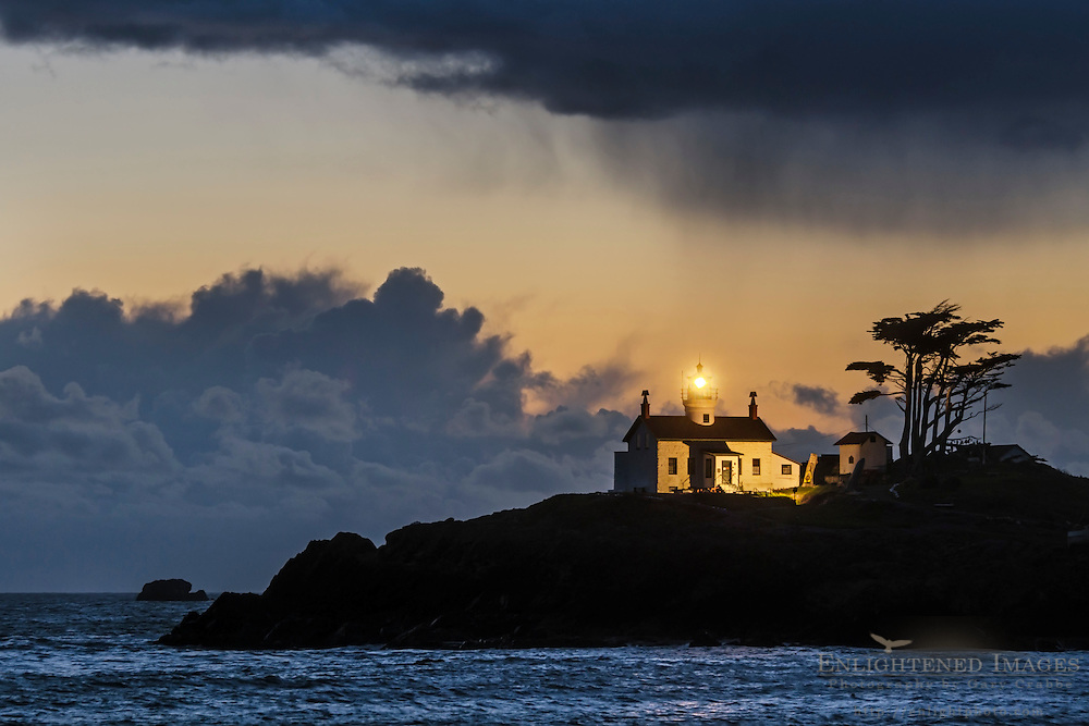 Storm clouds over Battery Point Lighthouse, Crescent City, Del Norte County, California