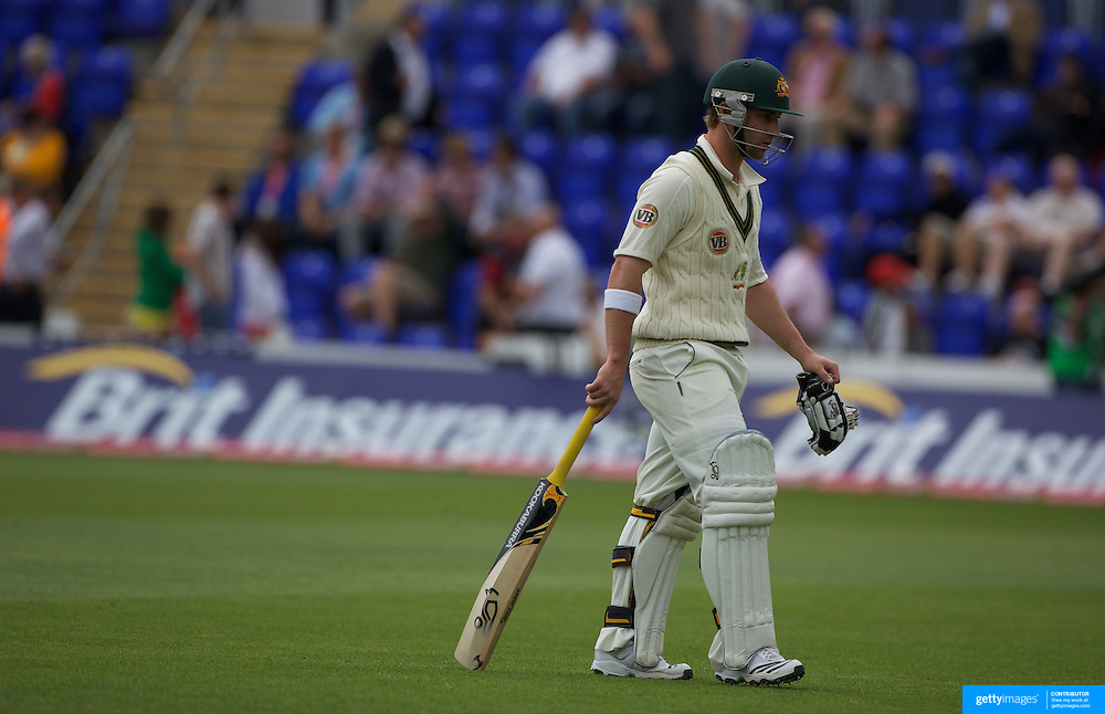 Phillip Hughes is dismissed by Andrew Flintoff during the England V Australia  Ashes Test series at Cardiff, Wales, on Thursday, July 09, 2009. Photo Tim Clayton.