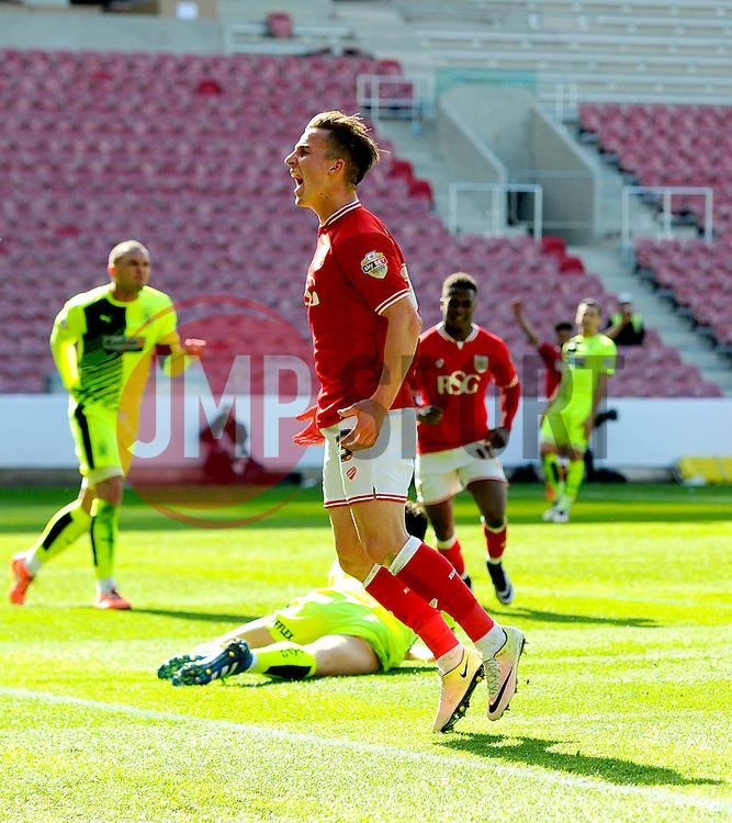Joe Bryan of Bristol City celebrates his goal  - Mandatory by-line: Joe Meredith/JMP - 30/04/2016 - FOOTBALL - Ashton Gate Stadium - Bristol, England - Bristol City v Huddersfield Town - Sky Bet Championship