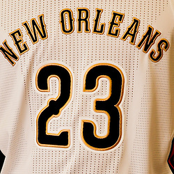Aug 1, 2013; Metairie, LA, USA; A detial of the front of New Orleans Pelicans forward Anthony Davis (23) jersey during a uniform unveiling at the team practice facility. Mandatory Credit: Derick E. Hingle-USA TODAY Sports