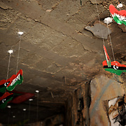 An art installation by a local artist is displayed at a semi-destroyed building in central Yefran, an Amazir village in the Nafusa mountains.