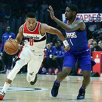 09 December 2017: Washington Wizards guard Tim Frazier (8) drives past LA Clippers guard Jawun Evans (1) during the LA Clippers 113-112 victory over the Washington Wizards, at the Staples Center, Los Angeles, California, USA.