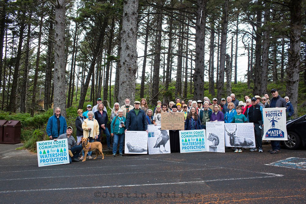 People gathered to protest a potential clearcut being done by Oregon Department of Forestry. Hug Point Oregon.