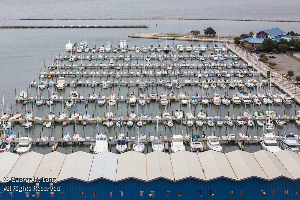 aerial view of South Shore Harbor Marina on Lake Pontchartrain in New Orleans, Louisiana