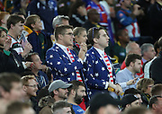 Smartly dressed American fans watching the final USA attack during the Rugby World Cup Pool B match between South Africa and USA at the Queen Elizabeth II Olympic Park, London, United Kingdom on 7 October 2015. Photo by Matthew Redman.