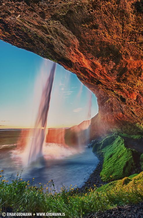 Last minutes of sunset at Seljalandsfoss waterfall. Taken in south-Iceland